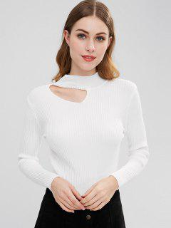 Cut Out Beaded Knit Top - White