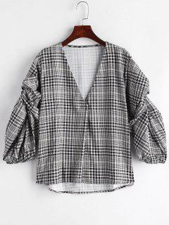 Gingham Loose High Low Blouse - Black L