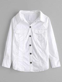 Long Sleeve Shirt With Pockets - White S