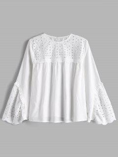 Hollow Out Blouse With Flare Sleeve - White L