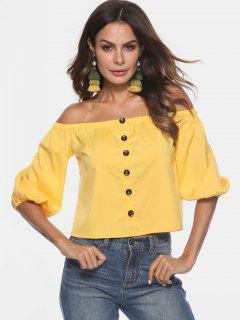 Schulter Bluse Mit Knöpfen - Sonne Gelb L