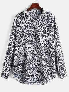 Button Up Leopard Loose Shirt - Black