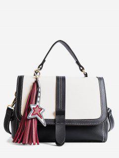 Contrast Color Tassel Crossbody Bag - 黑色