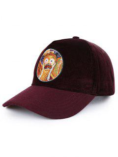 Novelty Painting Pattern Sunscreen Hat - Red Wine