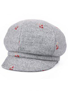Floral Embroidery Elegant Newsboy Hat - Gray Cloud