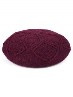 Elegant Solid Color British Style Beret - Red Wine
