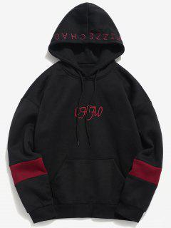 Letter Embroidered Fleece Hoodie - Black L
