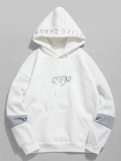 Letter Embroidered Fleece Hoodie - Milk White L