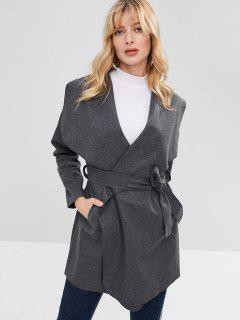 Lapel Collar Wrap Coat - Dark Gray M