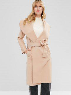 Lapel Collar Longline Wrap Coat - Light Khaki M