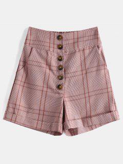 Botón De Tela Escocesa Hasta Pantalones Cortos De Talle Alto - Rosa Naranja M