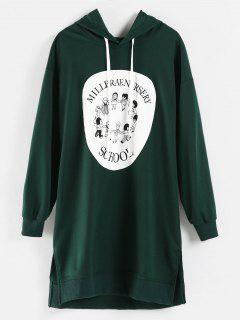 Cartoon Print Mini Hoodie Dress - Dark Green M