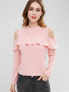 Flounce Cold Shoulder Top - Pink S