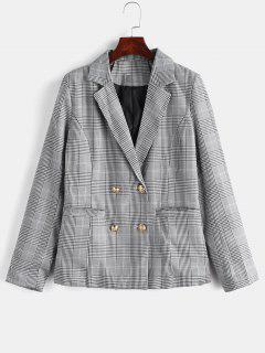 Back Slit Lapel Plaid Blazer - Black M