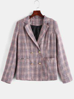 Double Breasted Plaid Lapel Blazer - Pink L