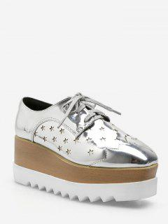 Lace Up Star Wedge Platform Sneakers - Silver Eu 37