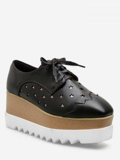 Lace Up Star Wedge Platform Sneakers - Black Eu 37