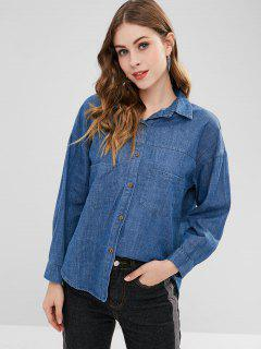 Chambray Letter Embroidered Blouse - Blueberry Blue