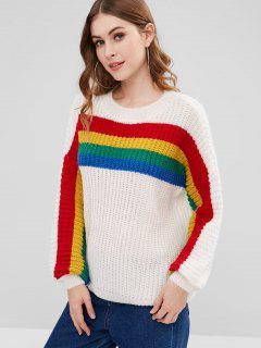 Colorful Stripe Boyfriend Chunky Sweater - White