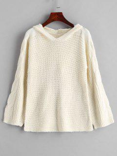 Cable Knit Hooded Sweater - Beige M