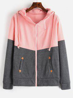 Zip Up Two Tone Tunic Hoodie - Pink S