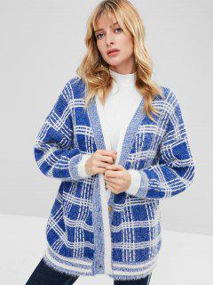 Button Front Oversized Checked Cardigan - Blue