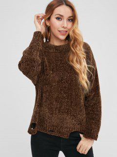 Ripped Knit Sweater - Brown