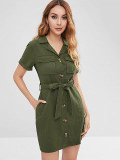 Button Through Belted Shirt Dress - Army Green L