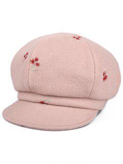 Floral Embroidery Elegant Newsboy Hat - Pink