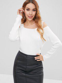 Square Collar Cold Shoulder Sweater - White