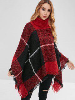 Suéter De Punto Geométrico Poncho Con Flecos - Multicolor
