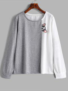 Dog Print Color Block Sweatshirt - Multi M
