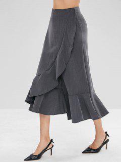 Capri Flounce Wide Leg Pants - Dark Gray L