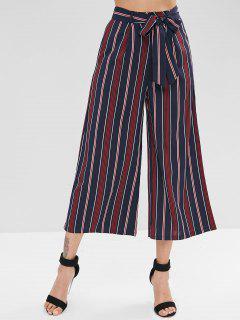 Contrast Striped Belted Loose Pants - Dark Slate Blue M