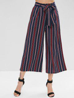 Contrast Striped Belted Loose Pants - Dark Slate Blue L