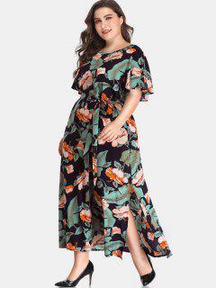 Floral Side Slit Plus Size Maxi Dress - Multi 2x