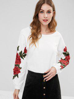 Floral Applique Tunic Sweatshirt - White M