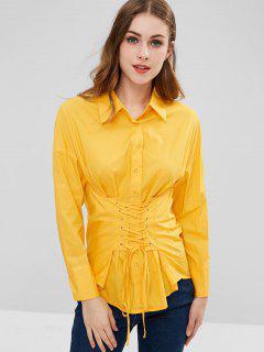 Chemise Taille à Lacets - Jaune Canard Caoutchouc M
