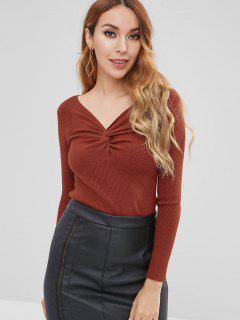 Twist Front Ribbed Knit Top - Chestnut