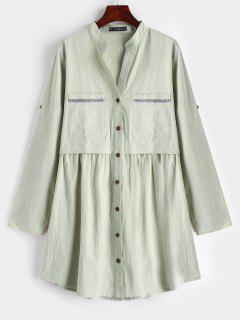 ZAFUL Pockets Button Up Tunic Shirt Dress - Dark Sea Green S