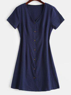 V Neck Button Up Casual Dress - Midnight Blue M