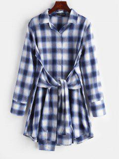 Plaid Knotted Shirt Dress - Midnight Blue L