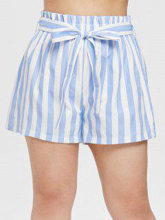 ZAFUL Striped Plus Size Belted Shorts - Light Blue 2x