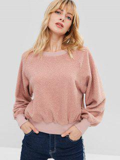 ZAFUL Raglan Sleeve Faux Shearling Sweatshirt - Khaki Rose