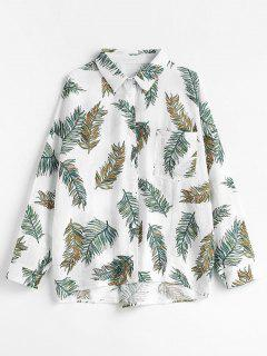 Leaf Print Cotton Shirt - White