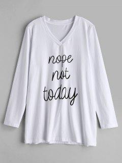 ZAFUL Graphic Slogan Camiseta Manga Larga - Blanco L