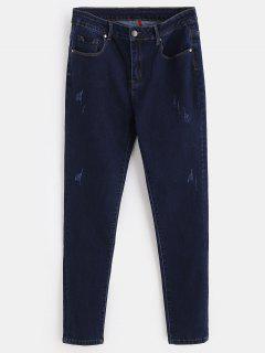 ZAFUL Distressed Skinny Jeans - Deep Blue S