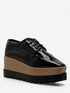 Square Toe Lace Up Platform Sneakers - Black Eu 38