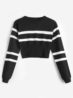 Striped Round Neck Short Sweater - Black