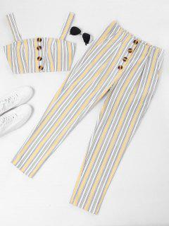 ZAFUL Striped Buttoned Top And Pants Set - Vanilla Xl